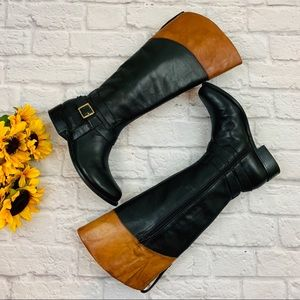 {Gianni Bini} Two-Tone Leather Riding Boots